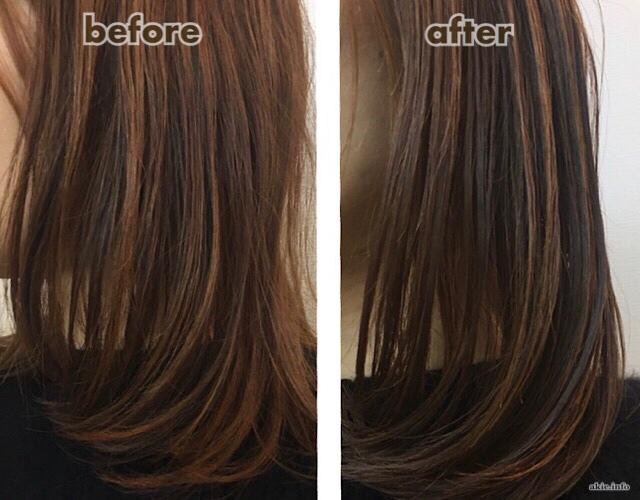 無印のホホバオイルで、髪をスタイリングをした前後の比較画像
