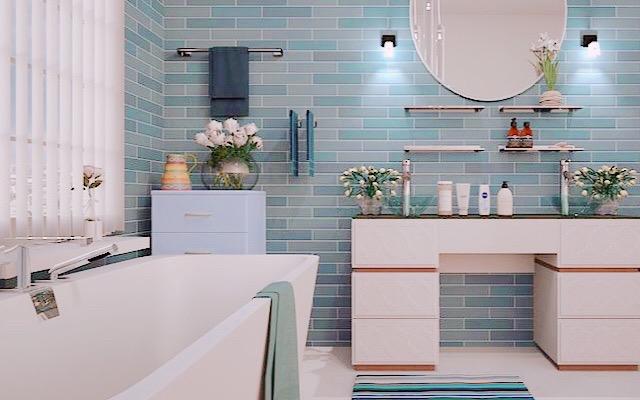 30代ママが身体を整えるために入浴する画像