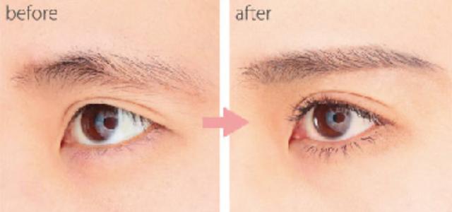 すっぴんだと眉毛がない女性が、眉毛エクステをつける前とつけた後の比較画像