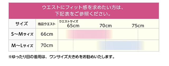 グラマラスタイルナイトブラのウエスト部分のサイズ表